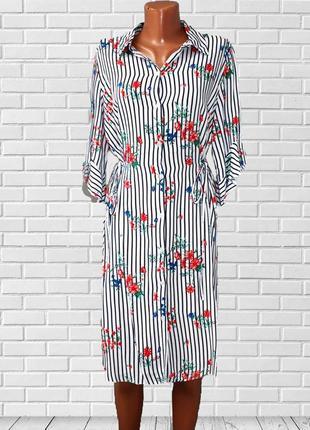Платье рубашка принт цветы в стиле dg