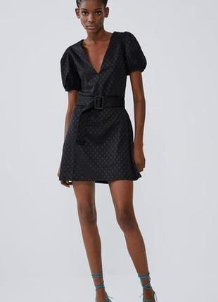 Стильна сукня zara!! оригінальна модель! трендовий горох!