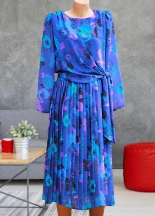 Шикарное яркое платье в английском стиле / плиссе