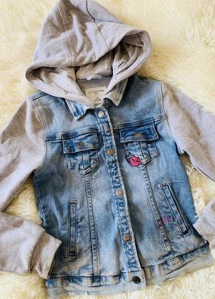 Джинсовая куртка джинсовка с капюшоном