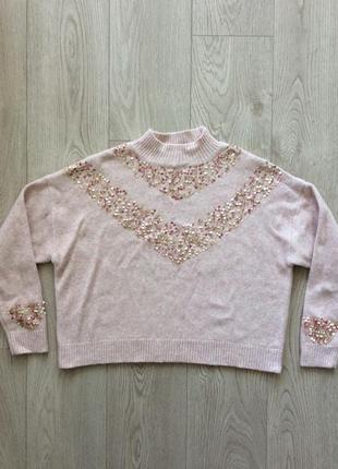 Красивый укорочённый oversized свитер р.s