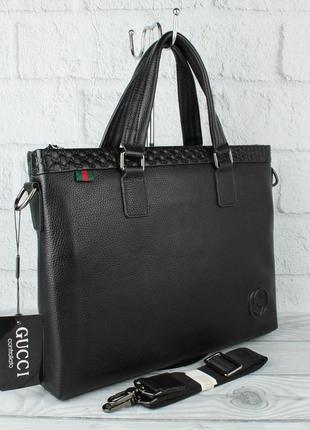 Кожаный портфель, сумка для документов 1104-1 черная, формат а-4