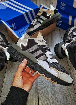 Adidas nite jogger чёрные с бежевым ♦ мужские кроссовки ♦ весна лето осень