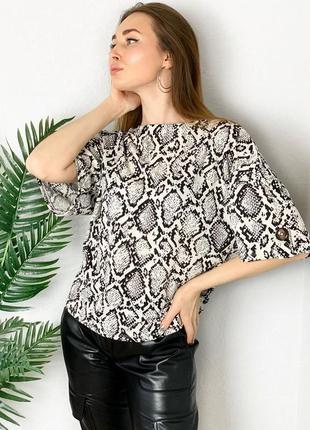 Шикарная блуза в змеиный принт питон рубашка футболка