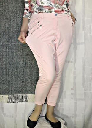 Скинни нежно-розового оттенка с молниями, 98% хлопка