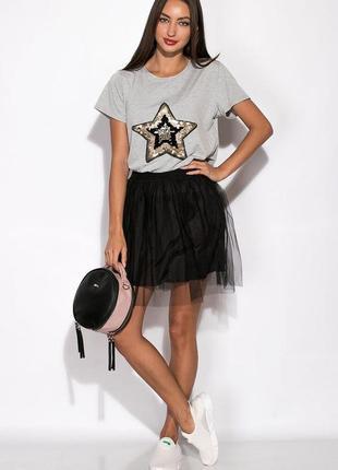 Новая актуальная стильная фатиновая юбка черного цвета высокая талия