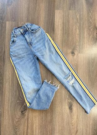 Bershka джинсы с лампасами скинни брюки штаны рваности