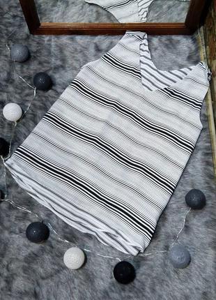 #розвантажуюсь двухслойная блуза кофточка топ в черно-белую полоску