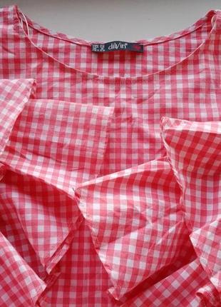 Хлопковая блуза топ с расклешенными рукавами воланами принт клетка розовая