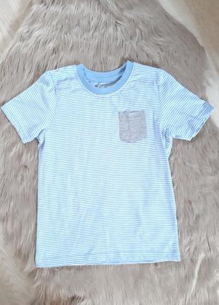 Футболка lupilu на мальчика 4 - 6 лет в полоску голубая с карманом