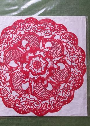 Картина трафарет красные карпы для китайского, японского, азиатского интерьера, фен шуй