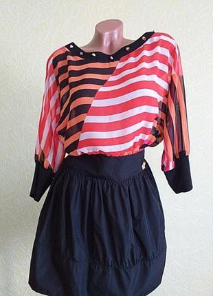 Платье короткое, шифон, в полоску, bodyform