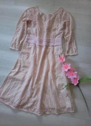 Платье &hübsch гипюровое ажурное нежное розовое миди красивое выпускное нарядное