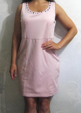 Платье миди chic by cellbes футляр офис нарядное нежное розовое с камнями облегающее