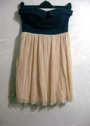 Мини платье deb корсетное комбинированное синее бежевое персиковое ажурное гипюровое
