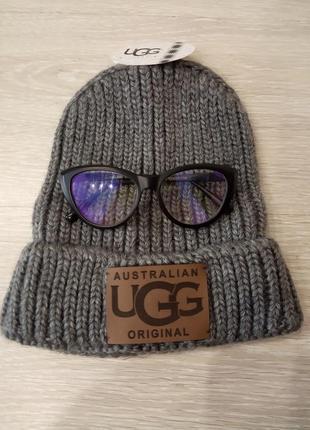 Новая, тёплая серая шерстяная шапка бини, ugg, крупная вязка