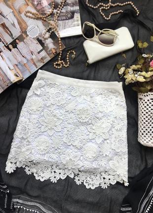 Сверхизысканная юбка из кружева, высокая линия талии /top shop/размер m