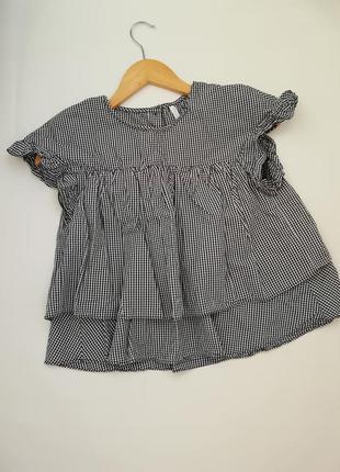 Блузка кроп топ рубашка с рюшами в клетку zara