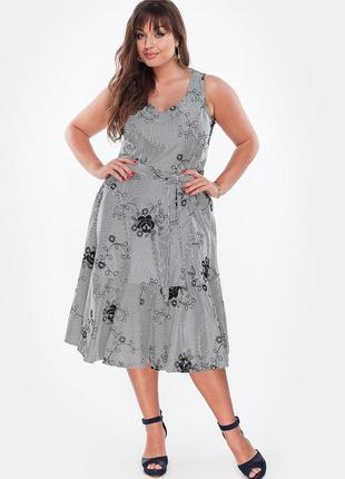 Летнее платье из коттона с вышивкой 48-54 р