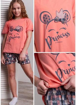 Комплект девичий с шортиками - мышка princess