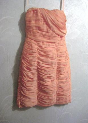 Платье h&m облегающее персиковое розовое оранжевое коктейльное нарядное бюстье