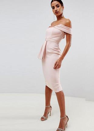 Распродажа! нюдовое платье миди с ниспадающими бретельками asos