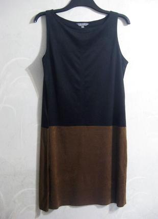 Платье units замш чёрное коричневое комбинированное замшевое повседневное нарядное