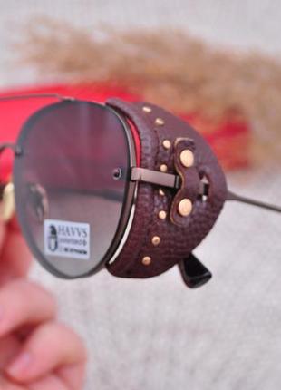 Фирменные солнцезащитные  очки капля havvs polarized с боковой шорой унисекс