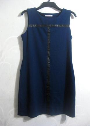 Платье camaieu короткое синее с кожаными вставками повседневное