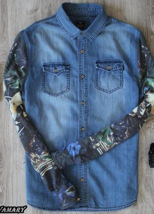 Мужская джинсовая рубашка с рукавами как у свитшота и деревянными пуговицами rockerbox