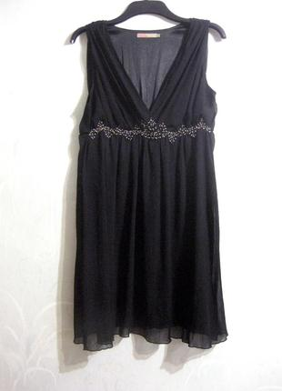 Платье saint tropez чёрное миди с отделкой бисером нарядное шифоновое коктейльное