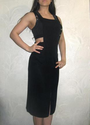 Сарафан платье tu woman чёрное вискоза открытая спинка повседневное клубное миди