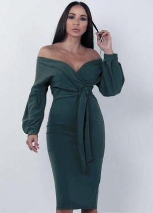 Распродажа платье boohoo миди на запах с пышными рукавами с сайта asos