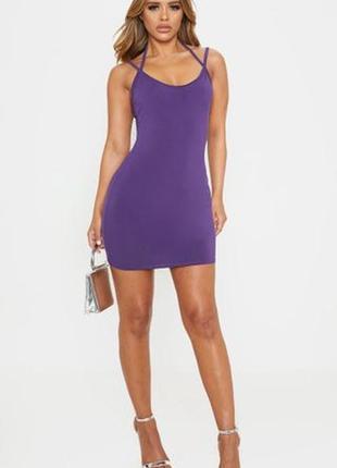 Prettylittlething. платье с дизайном в виде крестовины и мини-длины uk 14 новое.