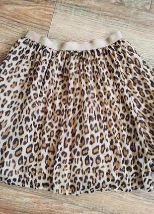 Клешная юбка на девочку 10-11 лет тигровая  на резинке