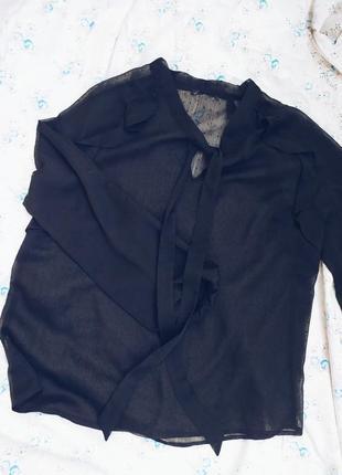 Блуза в точку чёрная шифоновая