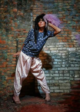 Шаровары сальвары штаны в индийском стиле алладины атласный брюки нюдовый нюд