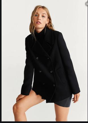 Брендовое черное шерстяное демисезонное пальто полупальто adini шерсть