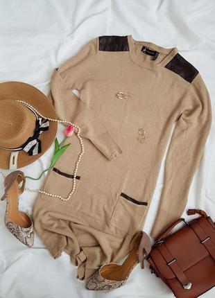 Знижки 😱😱😱стильна базова тепла сукня з карманами та шкірзамовими вставками від атм