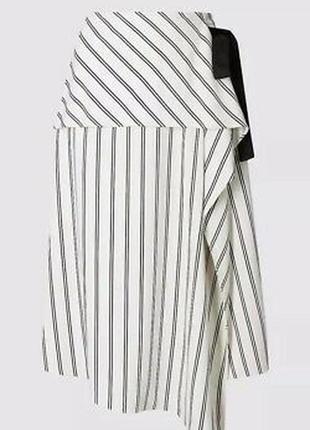 Стильная ассиметричная миди  юбка в полоску m&s, p. 16