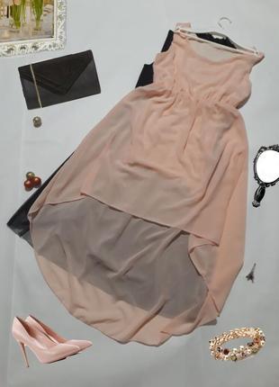 Платье со шлейфом пудрового цвета