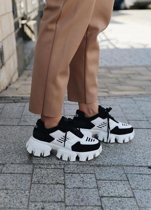 Prada cloudbust white/black 🔺женские кроссовки прада черные с белым