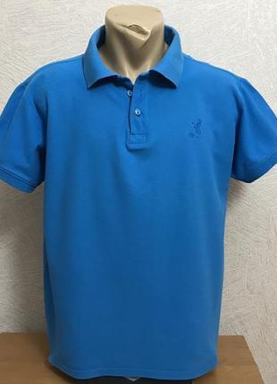 Однотонное поло тенниска ярко синего цвета