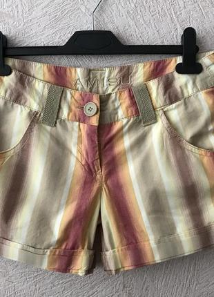 Amisu- яркие шорты в полоску с манжетом в идеале s-m