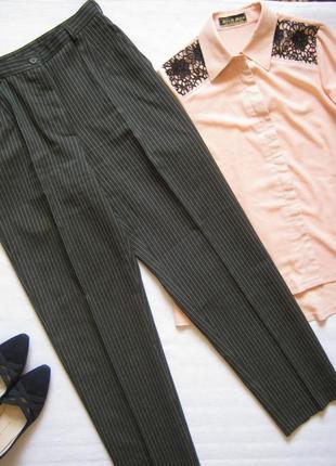Зауженные классические брюки в полоску, высокая посадка