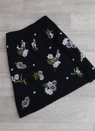 Черная юбка в цветочный принт new look
