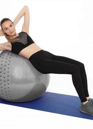 Полумассажный фитнес мяч 65см. profi anti-burst system (антиразрыв) серый
