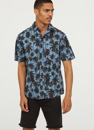 Хлопковая рубашка regular fit h&m