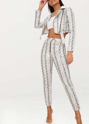 Кожаные штаны змеинный принт 🔥prettylittlething🔥 кожаные брюки
