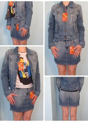 Супер джинсовый костюм женский 3в1, джинсова спідниця, джинсова куртка